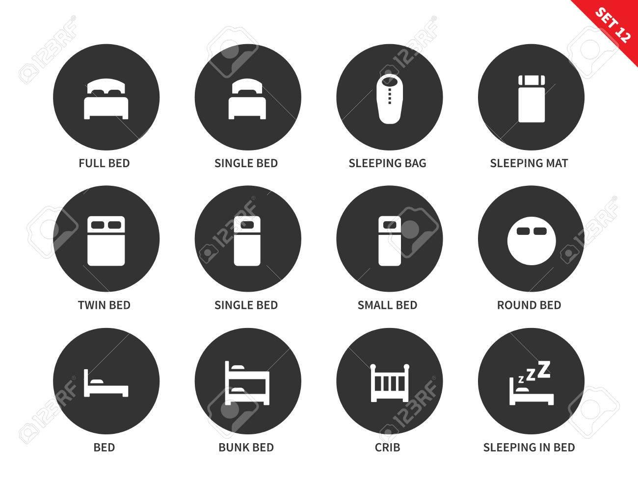 Hotel Lits Vecteur Icones Ensemble Pour Les Touristes Lit Lit