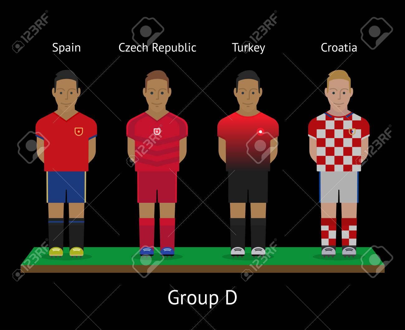 dd26a211c07 Vector illustration. Football players. Soccer teams. Group D - Spain