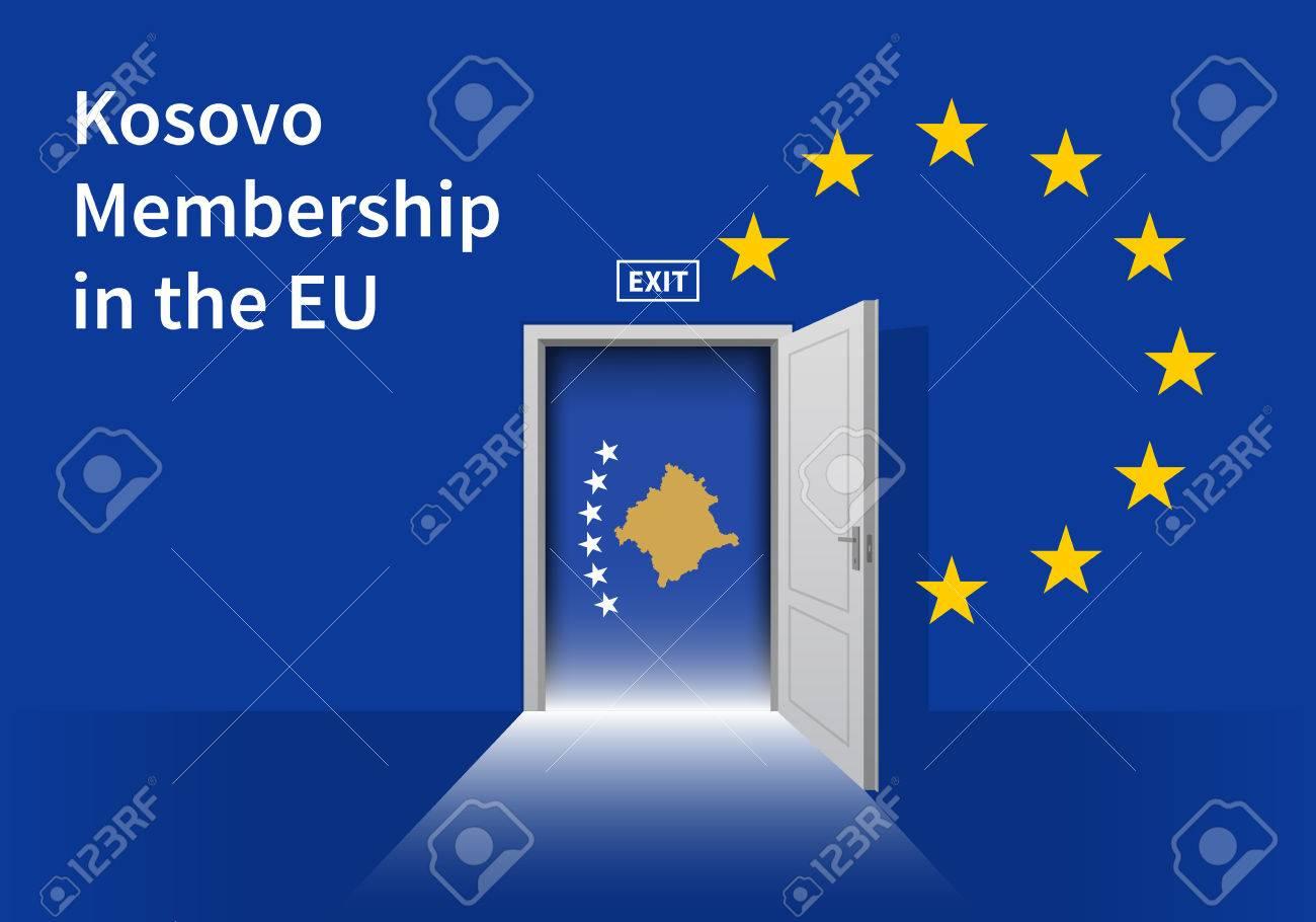 Flag Of The Kosovo And The European Union Kosovo Flag And Eu