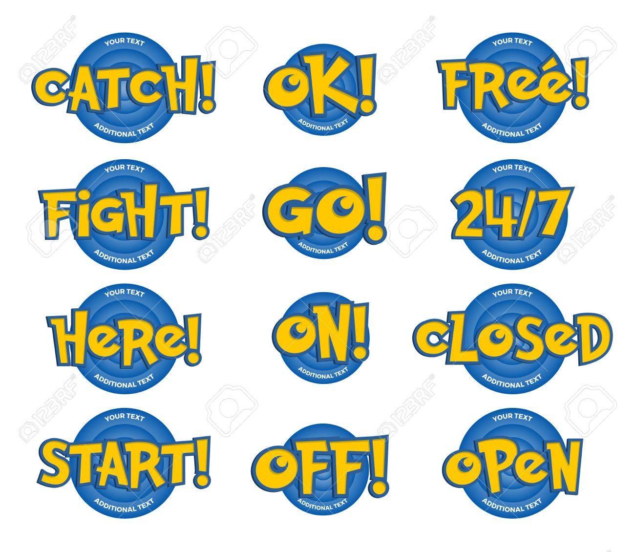Sätze In Einem Cartoon Spiel-Stil. Fangen, Ok, Frei, Kampf, Go, Hier ...