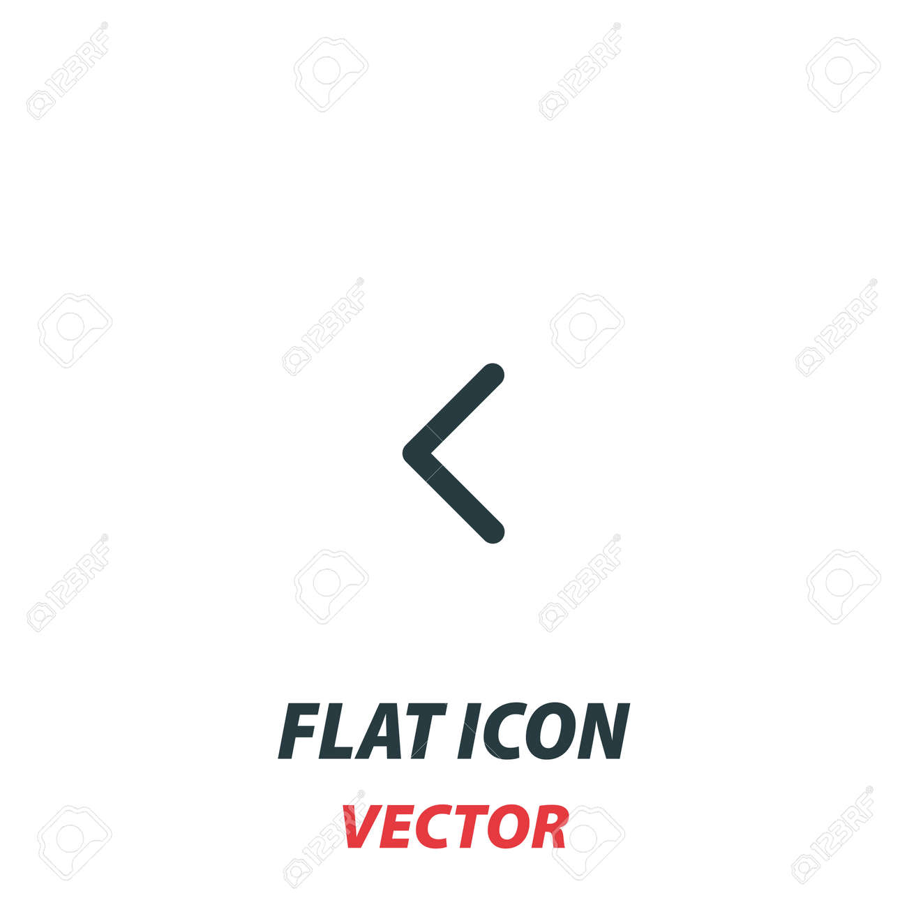Left chevron icon in a flat style. Vector illustration pictogram on white background. Isolated symbol suitable for mobile concept, web apps, infographics, interface and apps design. - 159915916