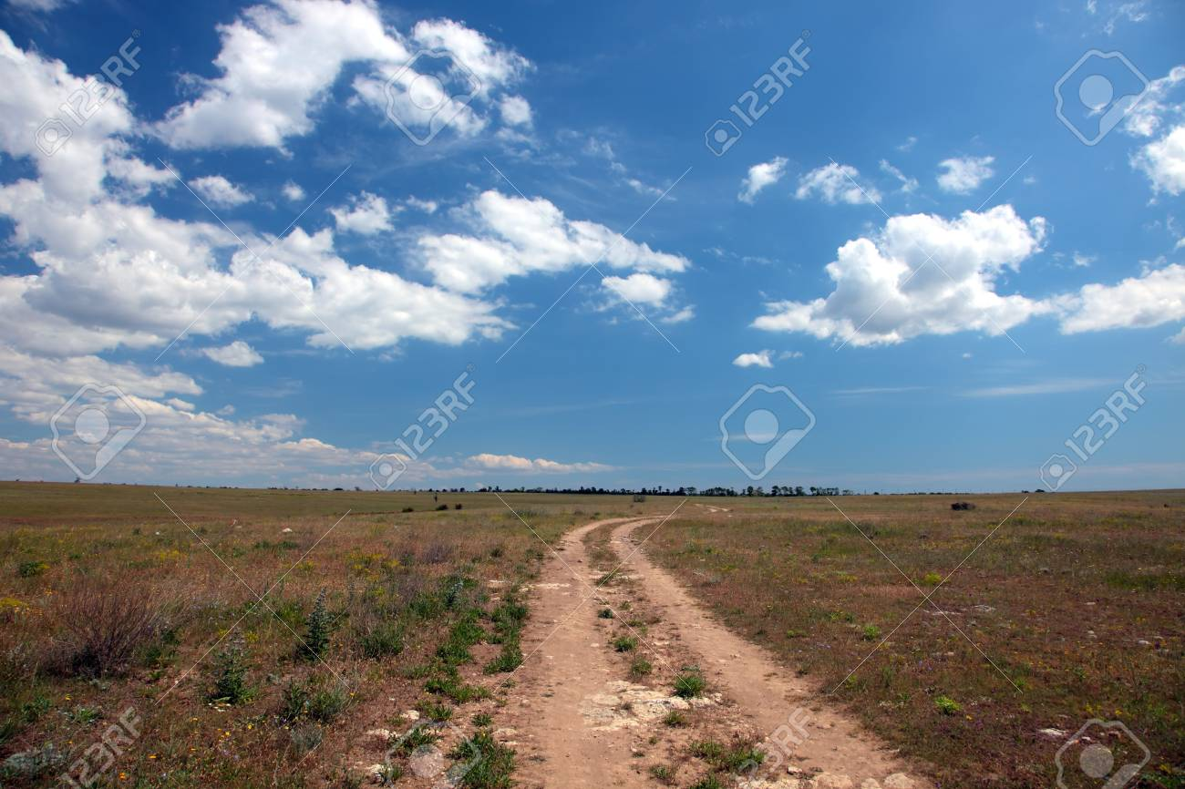 Wild steppe on cape Tarhankut in Crimea, Ukraine Stock Photo - 17231224