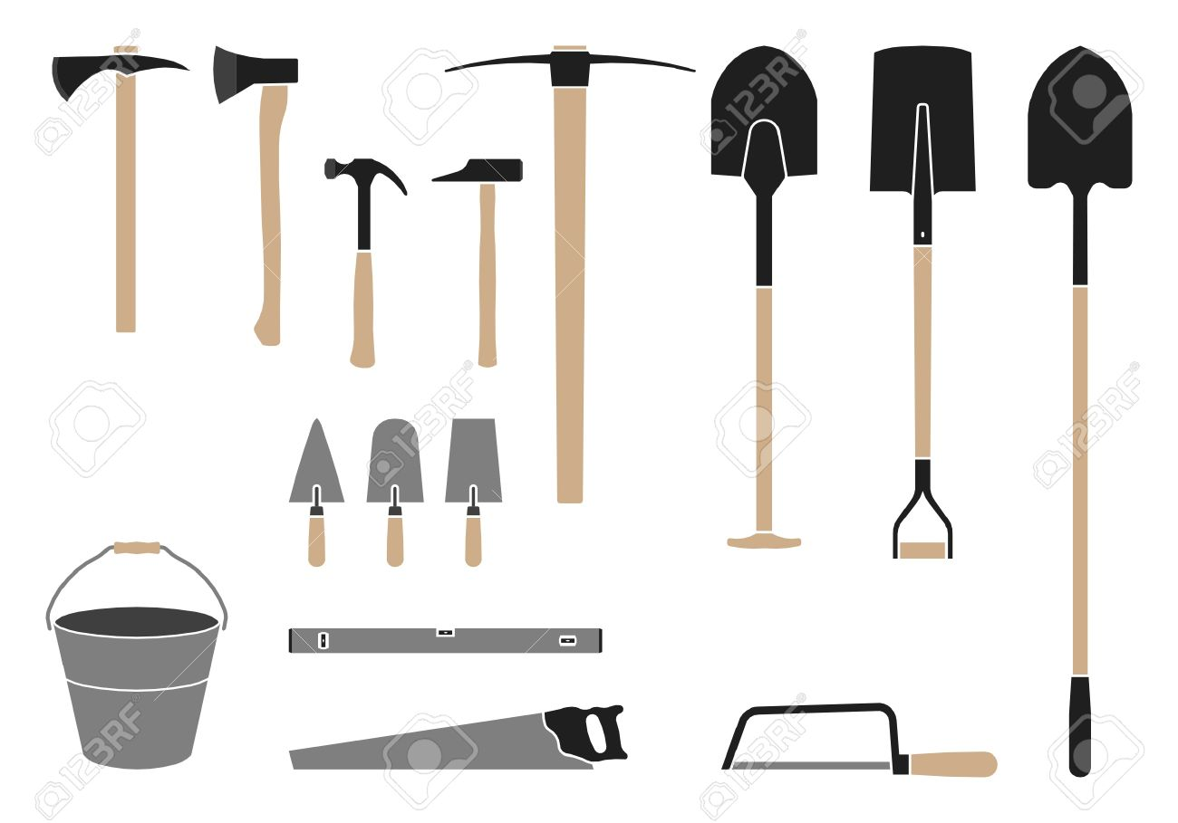 tools for the construction site shovel hammer saw royalty free