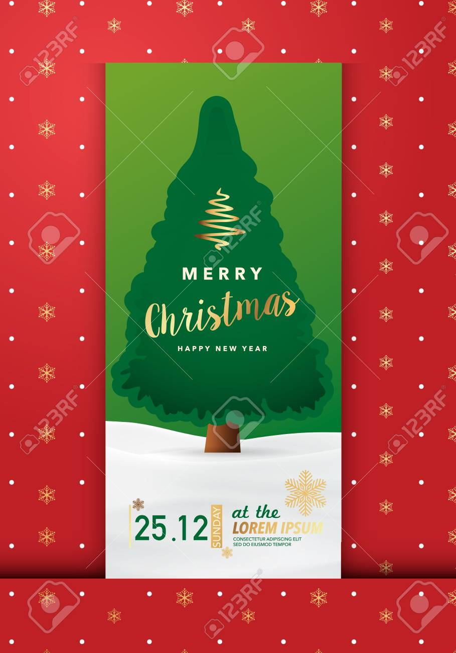 Merry Christmas Party Invitation Card Background Vector