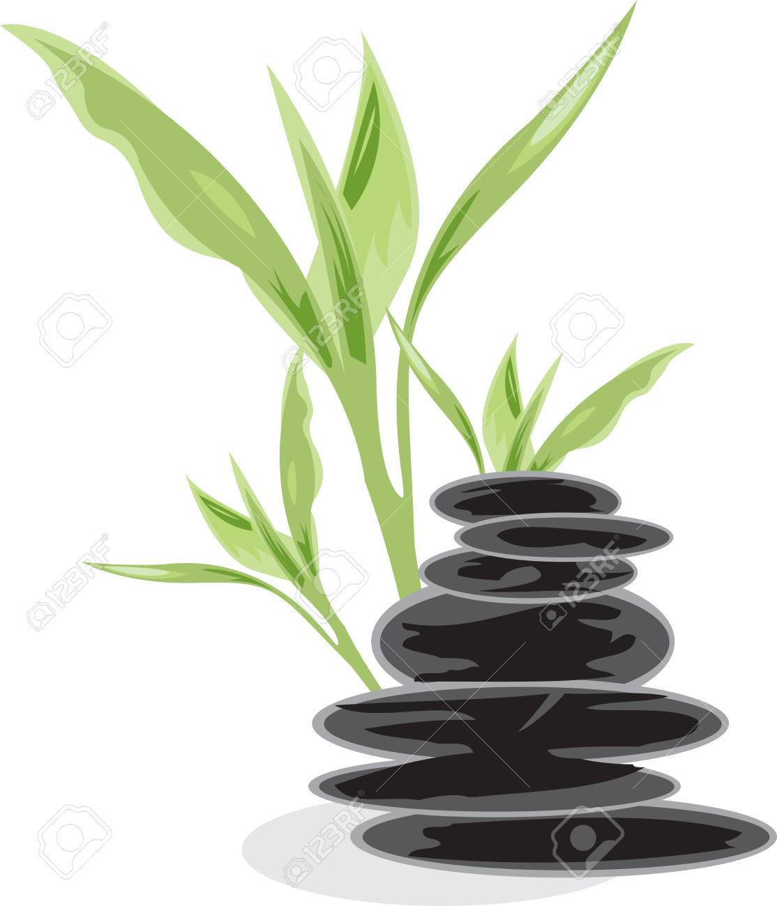 Bamboo and black stones Stock Vector - 12473123