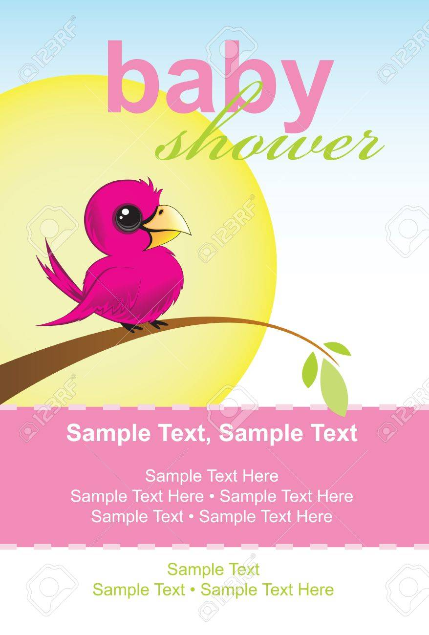 Baby Shower Invitation, little bird sitting on a branch Stock Vector - 12473130