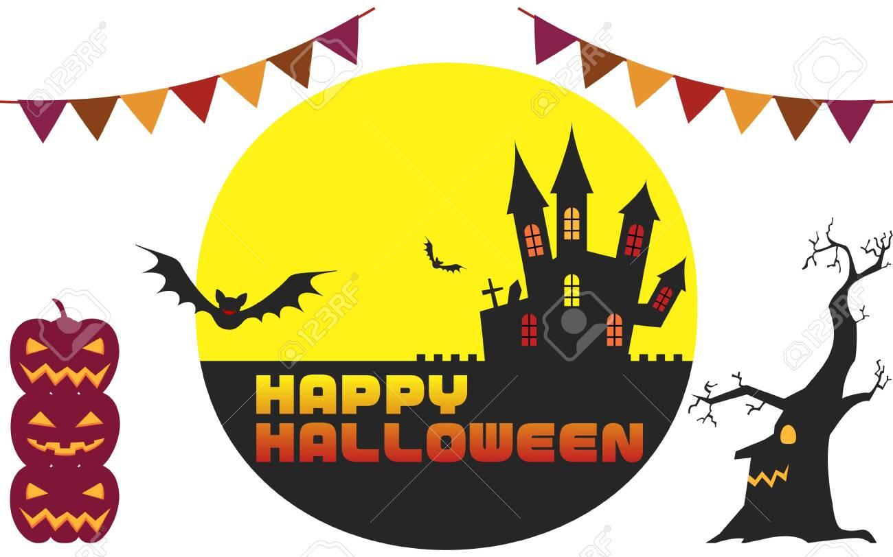 Halloween castle and moonlit night illustration, unprocessed versionVector illustration - 150591944