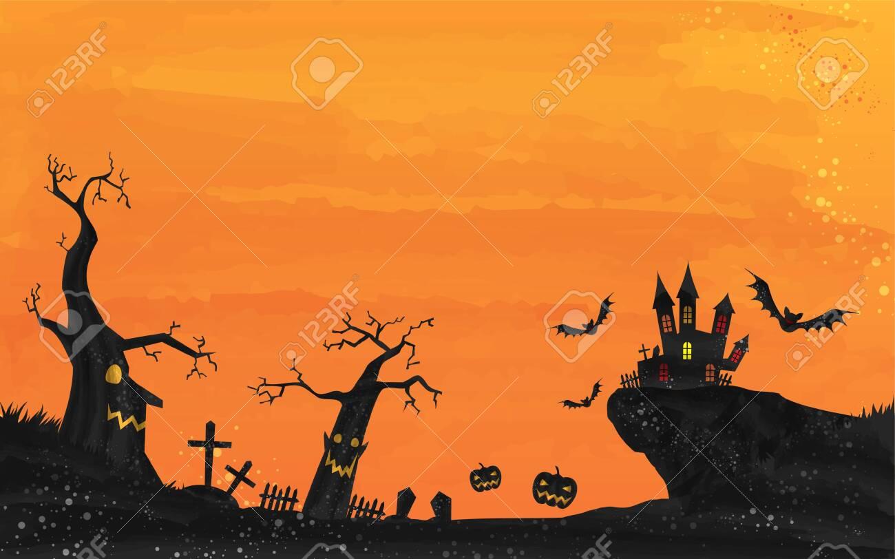 Halloween castle and graveyard landscape illustration, watercolor style grungeVector illustration - 150591949