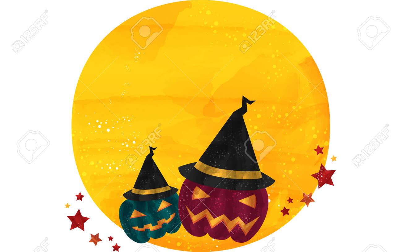 Halloween illustration: Jack O Lantern wearing a full moon and a hatVector illustration - 150783484