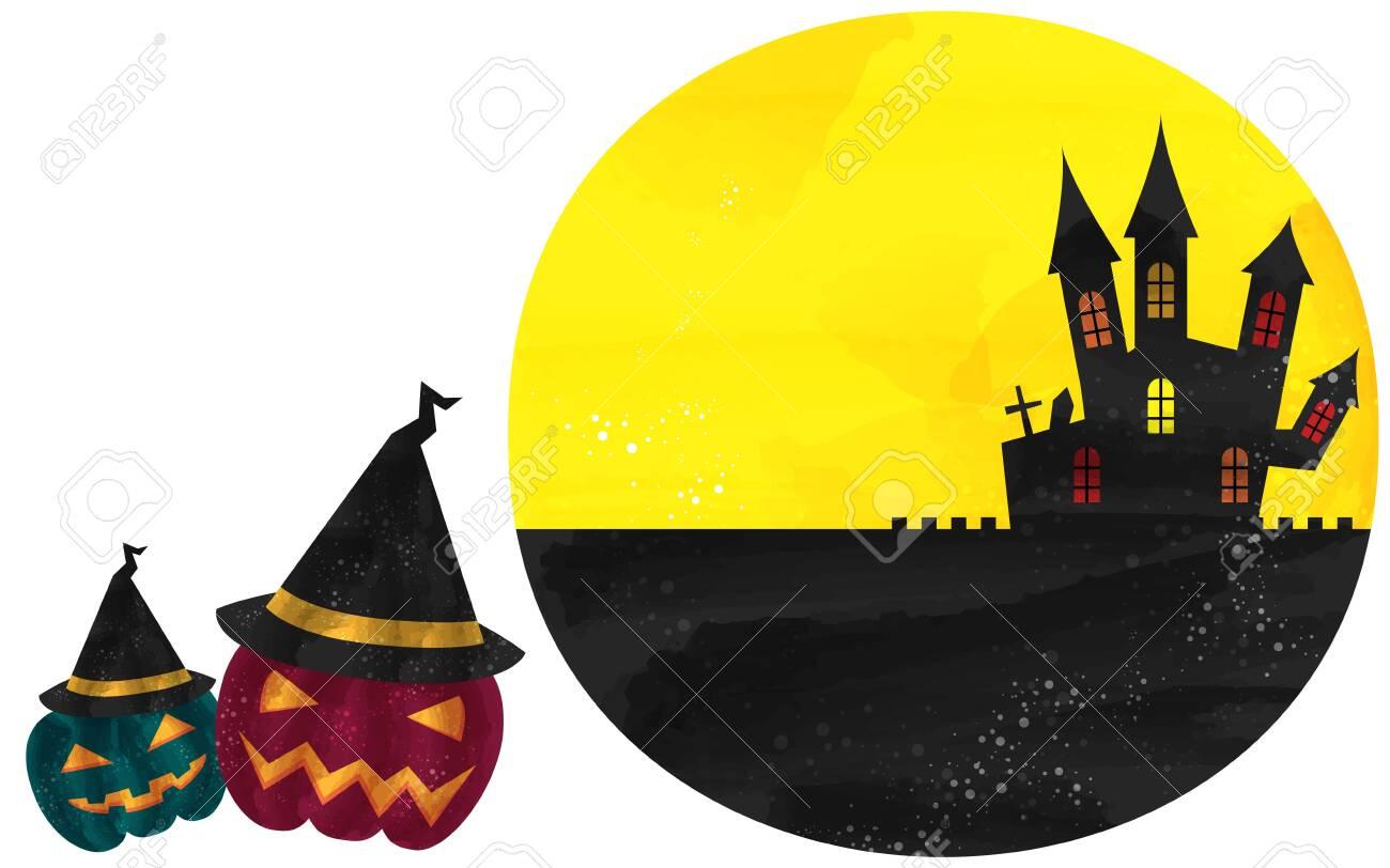 Halloween Illustration: Full Moon, Old Castle and Jack O Lantern in a HatVector illustration - 150783502