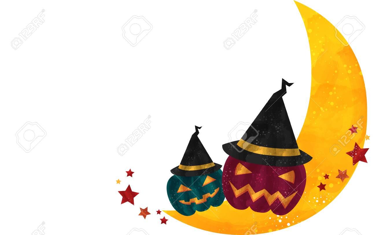 Halloween Illustration: Crescent Moon and Jack O'Lantern with HatVector illustration - 150747369