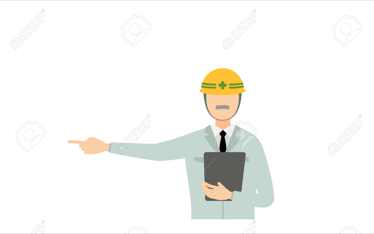 Construction site director pose set, senior male - 164219469
