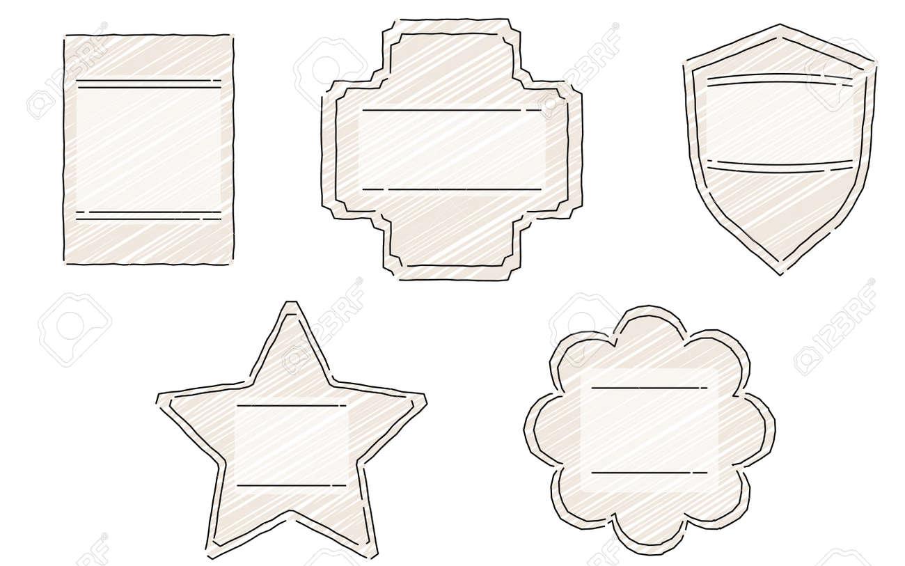 Loose line art, handwritten style frame set - 166394677