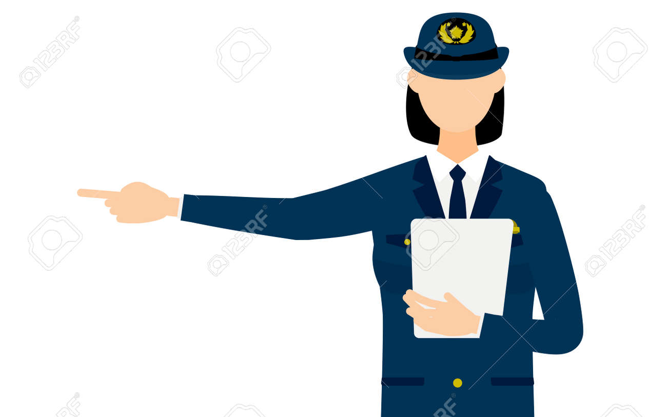 Young female police officer posing, Pointing with a clipboard - 171099920