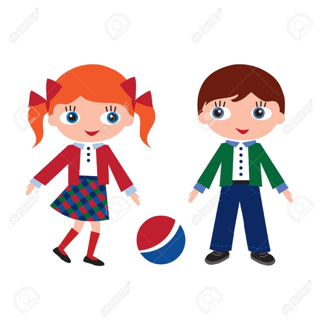 children in school at recess Stock Vector - 25331620