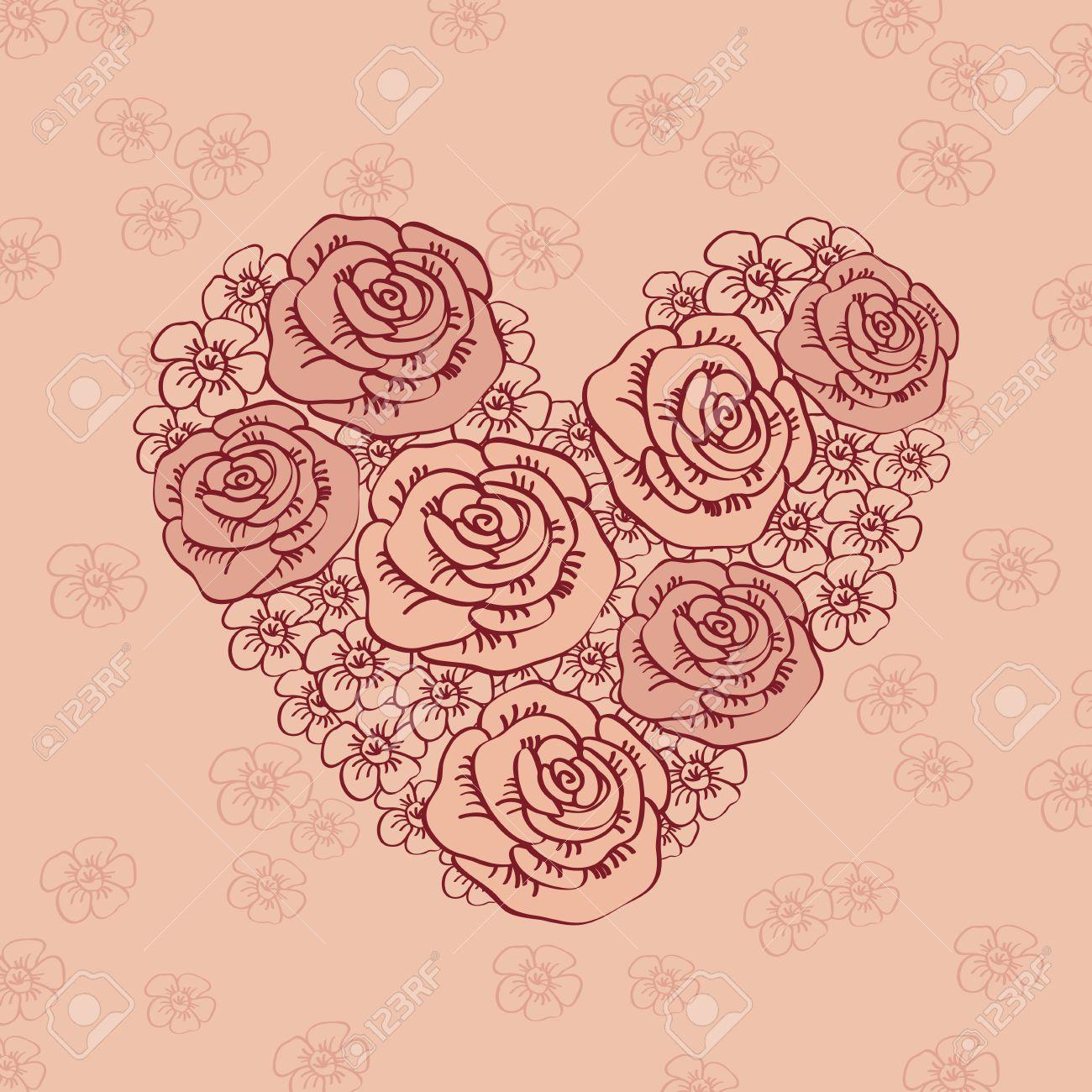 Hand Drawn Coeur Vintage De Fleurs Carte De Voeux Felicitations