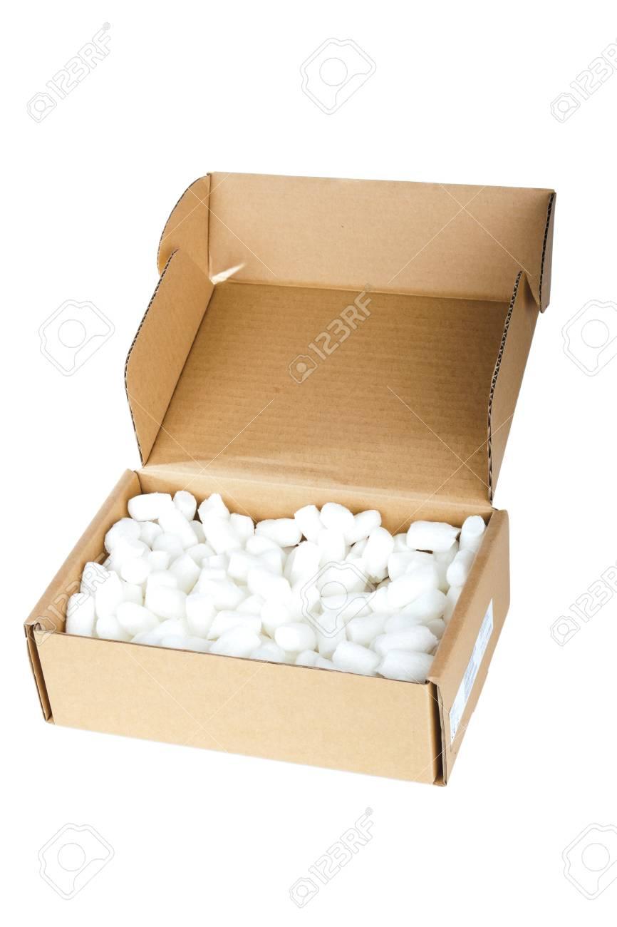 Open cardboard box on white background Stock Photo - 12829865
