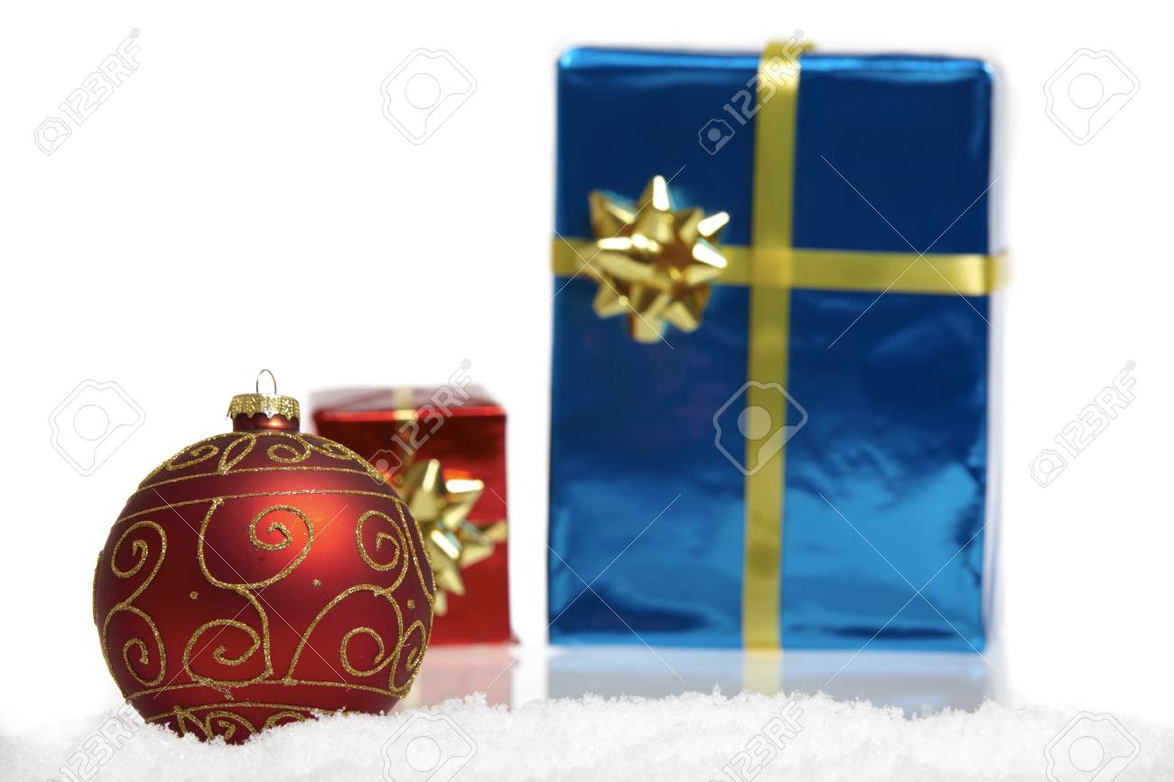 A red Christmas tree ball and two small gift packages Stock Photo - 14331844  sc 1 st  123RF.com & A Red Christmas Tree Ball And Two Small Gift Packages Stock Photo ...