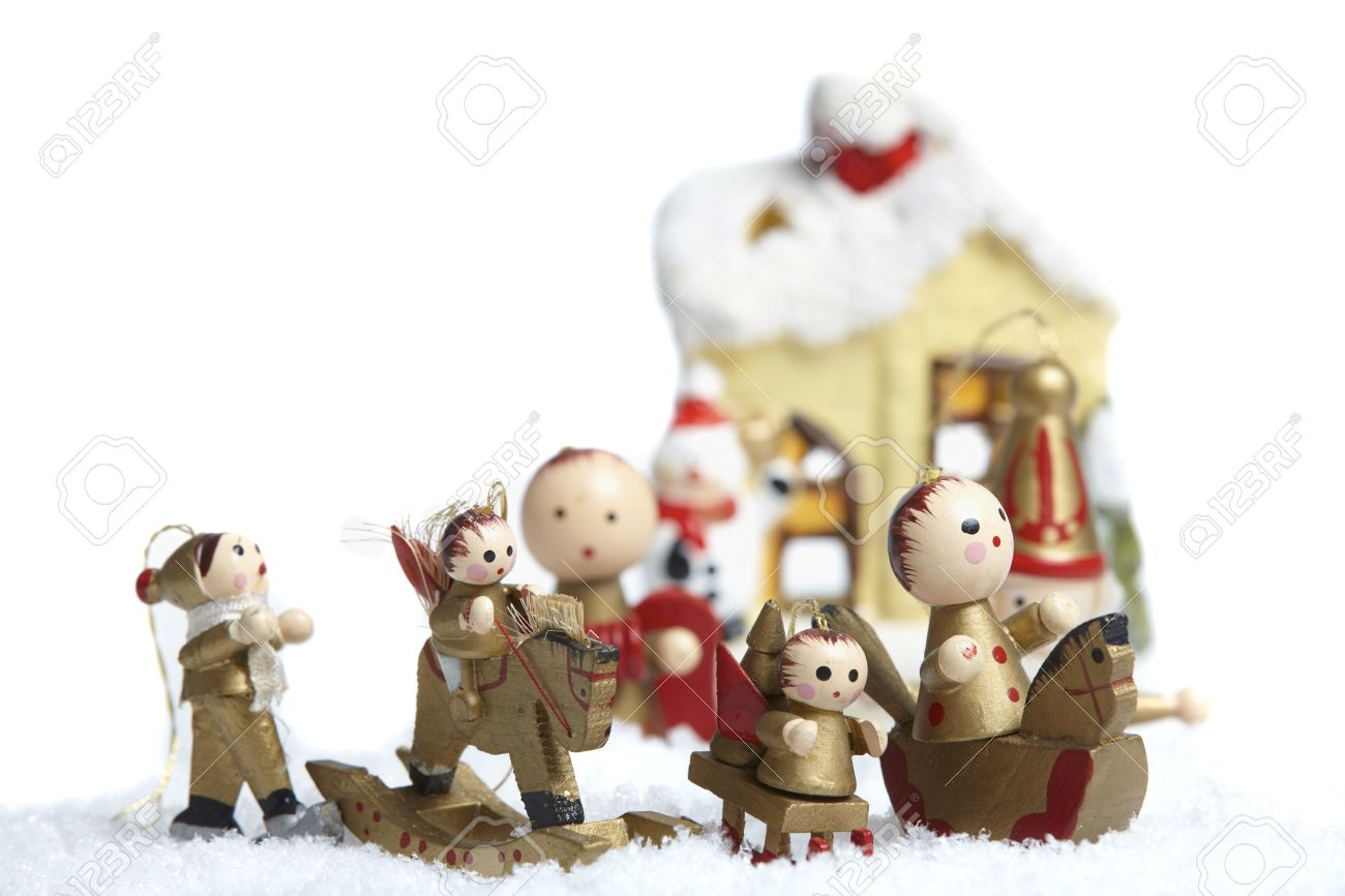 Small wooden christmas tree ornaments - Small Wooden Christmas Tree Decorations Figures Stand In The Snow Stock Photo 14331836