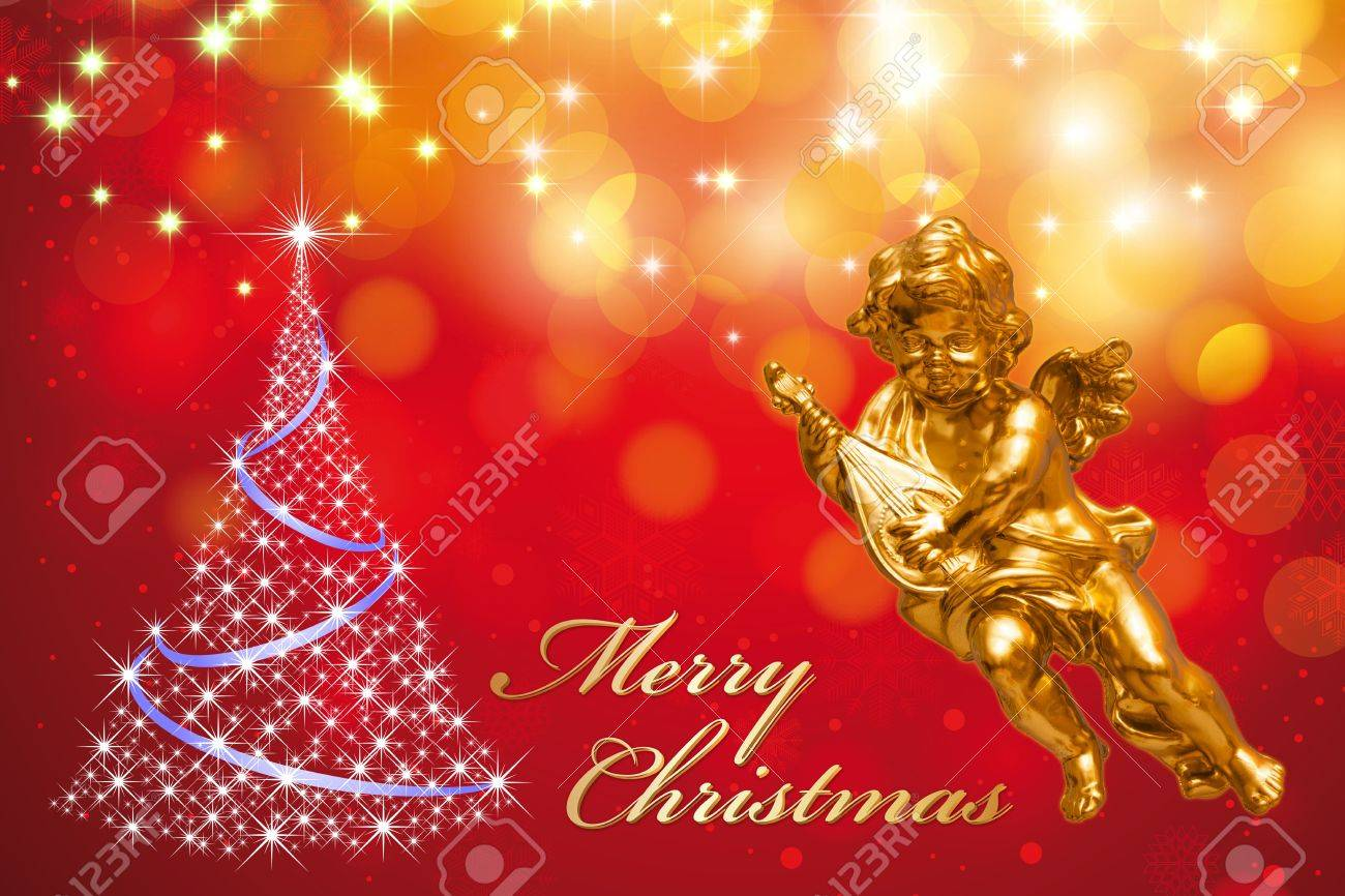Christmas greeting card merry christmas with golden angel stock christmas greeting card merry christmas with golden angel christmas tree on a colorful glittering background kristyandbryce Choice Image