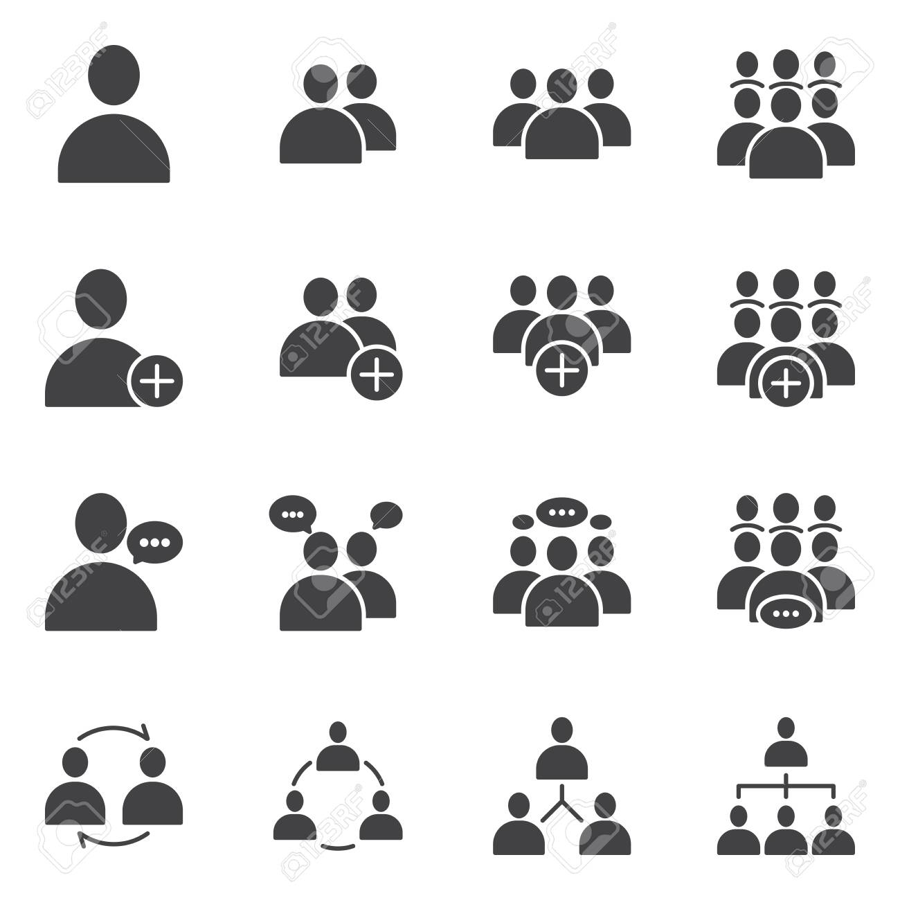 Simple Set of Business People Related Vector flat Glyph solid Icons. Contains such as Meeting, Business Communication, Teamwork, connection, speaking and more - 144945378
