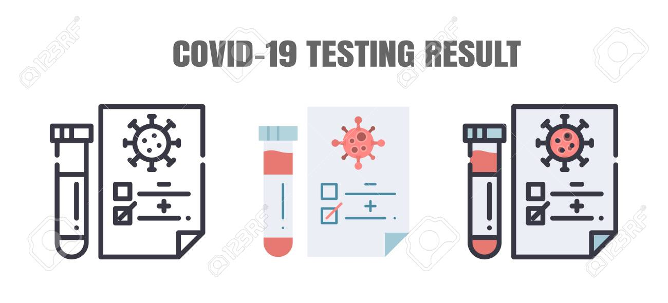 Testing Result of Covid-19 Patients is Negative or Positve. The Coronavirus Disease 2019 Infection Treatments. Line outline, Flat, Filled Icons Set. Editable Stroke. - 144948507