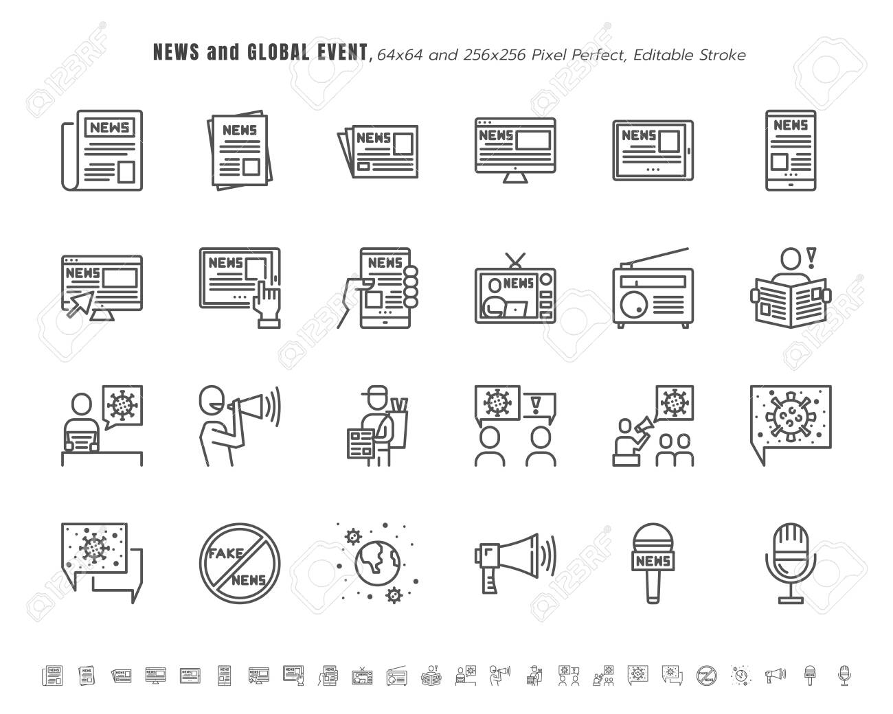 Simple Set of News and Global Event of Coronavirus, Covid-19 Related in Different Platform. Such as Tablet, Phone, Speech Bubble. Line Outline Icons Vector. 64x64 Pixel Perfect. Editable Stroke. - 147500195