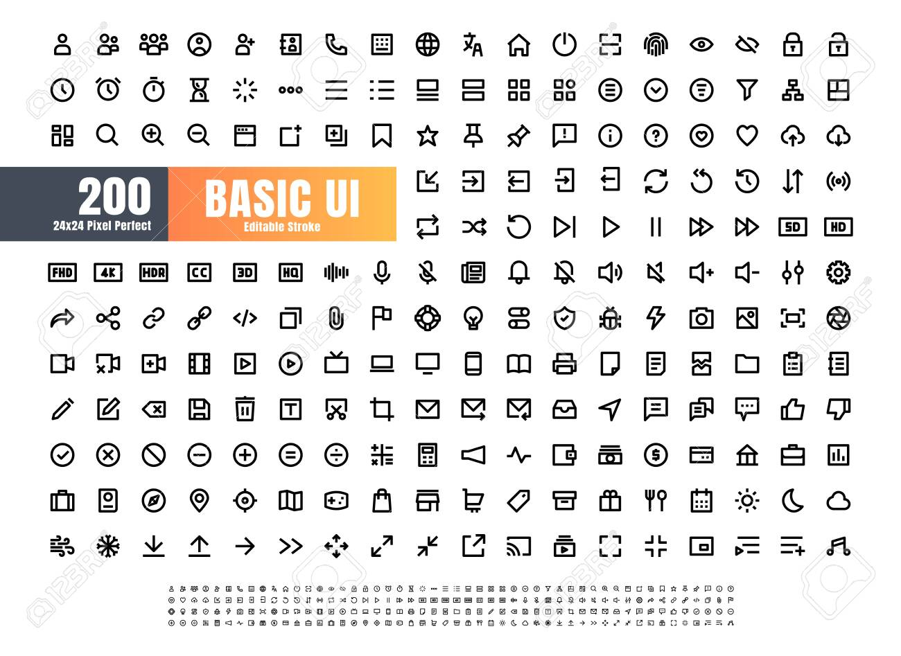 24x24 Pixel Perfect Basic User Interface Essential Set. 200 Line Outline Icons. For App, Web, Print. Editable Stroke - 154193646