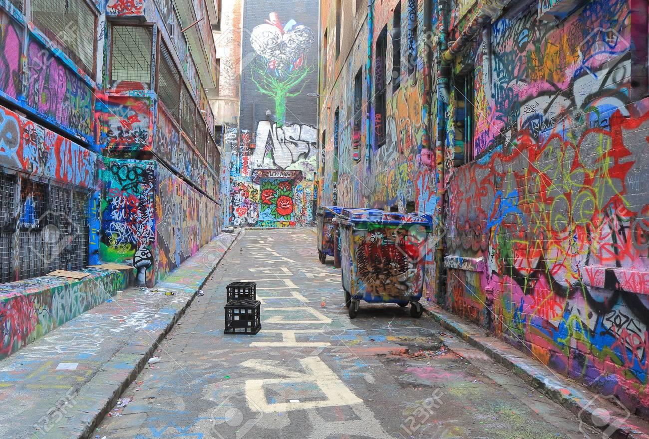 afdaf655ca23 Graffiti Street art in Hosier lane Melbourne Australia Stock Photo -  53489773