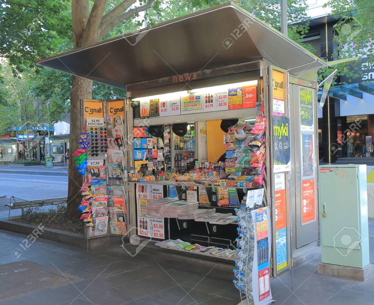 Melbourne Australia - February 13, 2016: News agency kiosk in downtown Melbourne. - 53489796