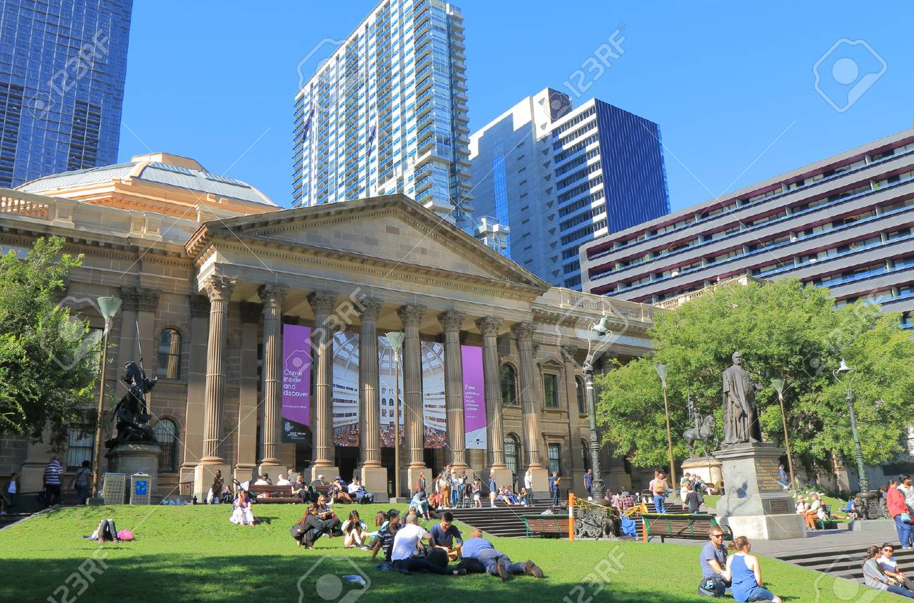 Melbourne Australia - April 24, 2016: People visit State Library of Victoria in Melbourne. - 56049670