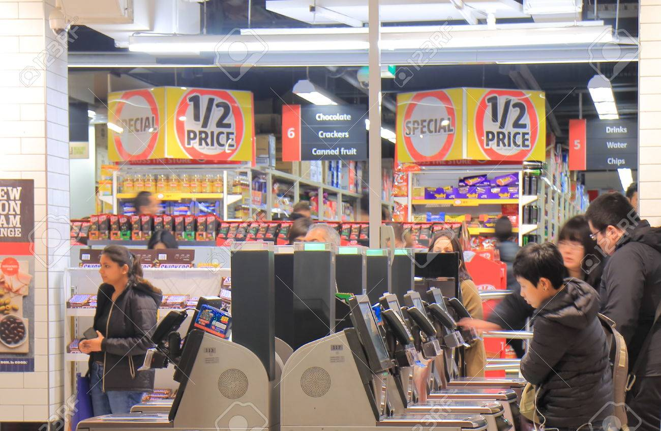 Melbourne Australia-June14, 2017: Unidentified people use self check out cashers at Coles supermarket in Melbourne Australia. - 81094237