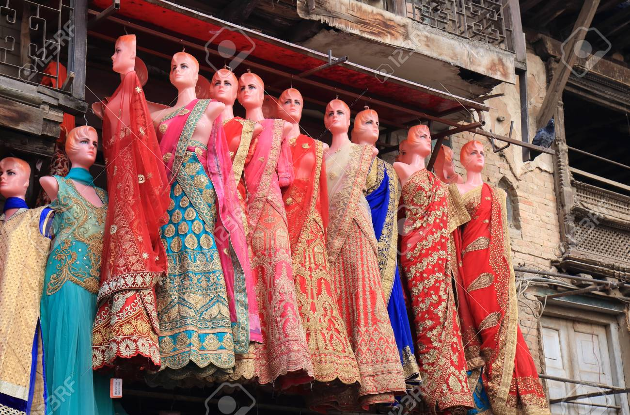 Kathmandu Nepal - November 10, 2017: Clothes store displays dresses