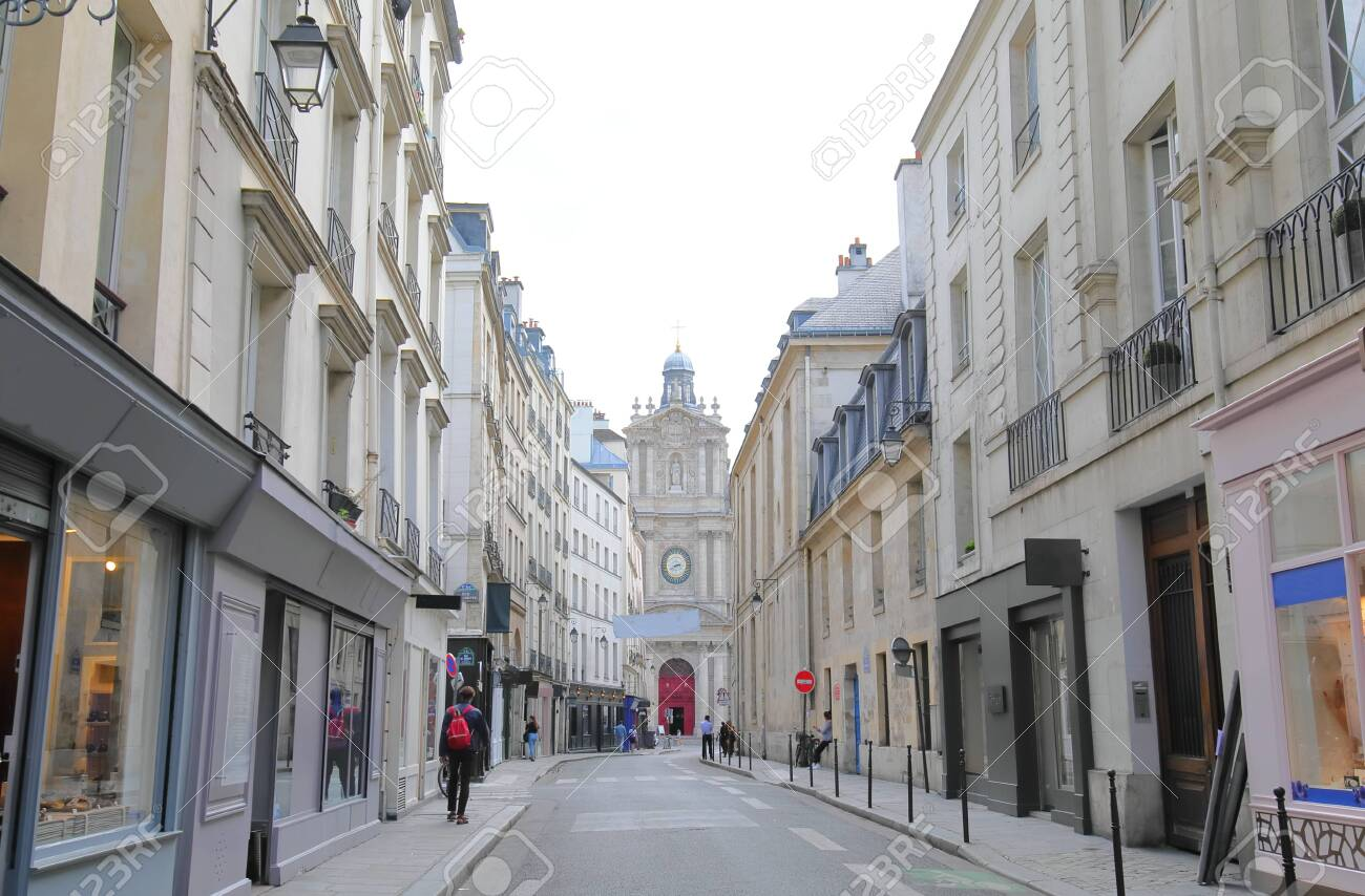Marais district cityscape and Saint Paul Saint Luis church Paris France - 130363526