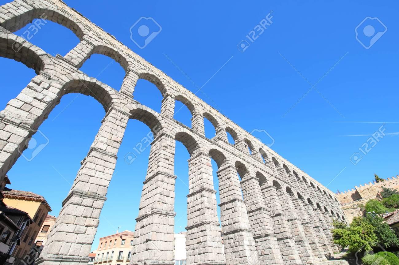 Aqueduct historical architecture Roman ruin Segovia Spain - 131432326