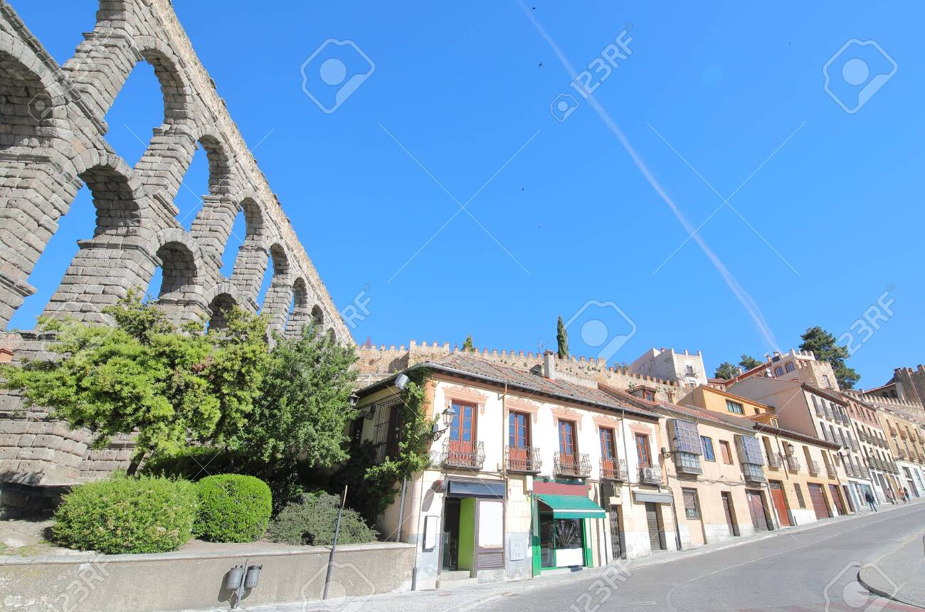 Historical town cityscape and Aqueduct Segovia Spain - 131432426
