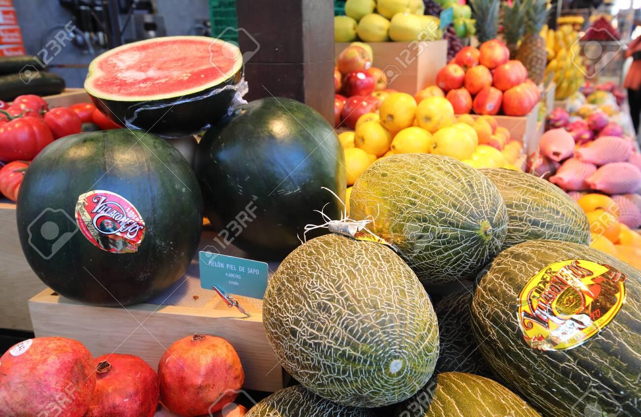 Madrid Spain - May 27, 2019: Tropical fruits display at Mercado de San Miguel market Madrid Spain - 131499297