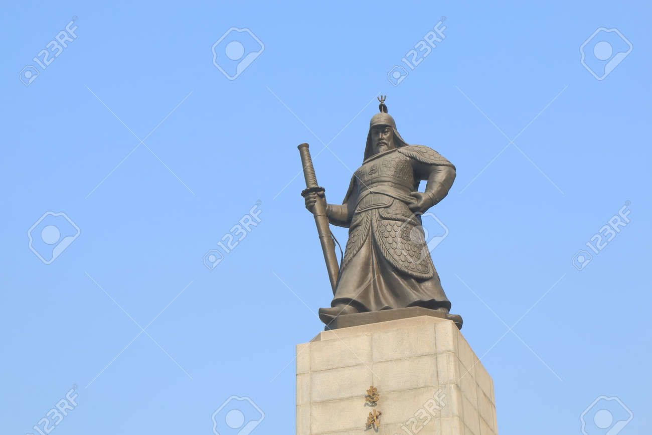 Admiral Yi Su Shin Monument. Yi Sun Shin was a Korean naval commander famed for his victories against the Japanese navy during the Imjin war. - 151528144