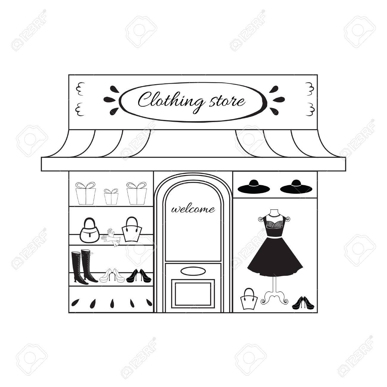 c9e7cb75ae Women s clothing store in vector. Window shopping with small black dress