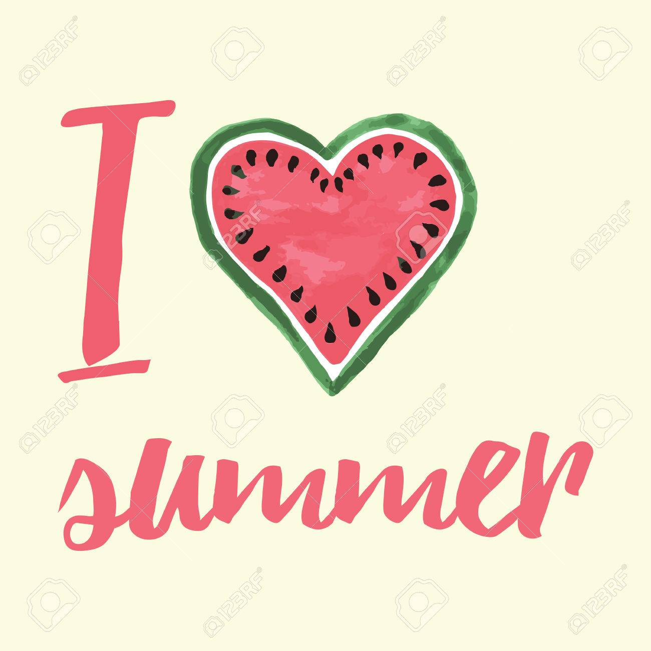vector print with watermelon and lettering i love summer
