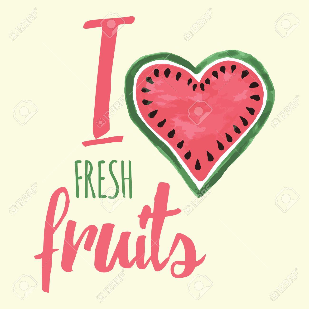 Vector Imprimir Con La Sandía Y Las Letras. Quiero Las Frutas ...