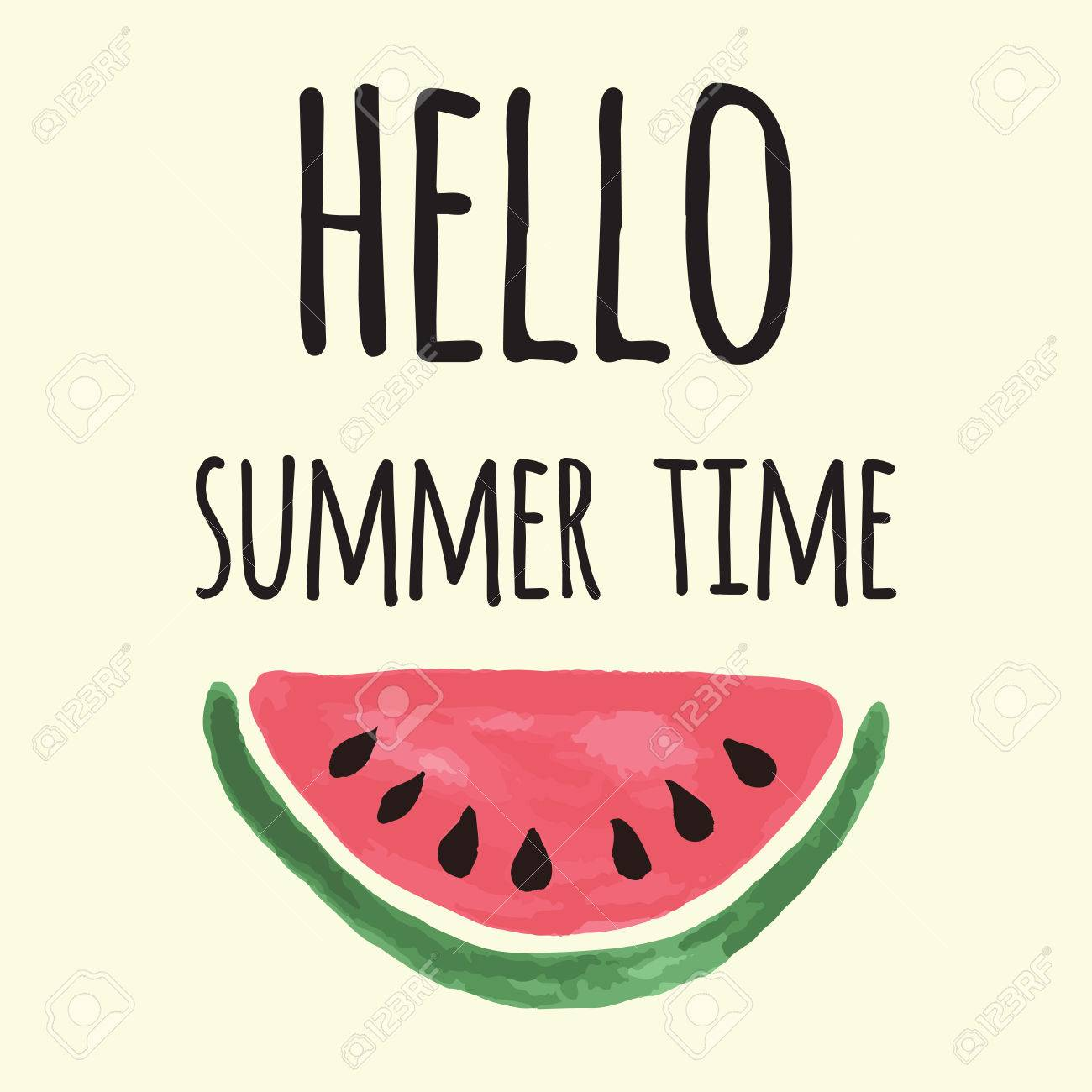 picture relating to Watermelon Printable named Vector print with watermelon and lettering. Hi summer season year