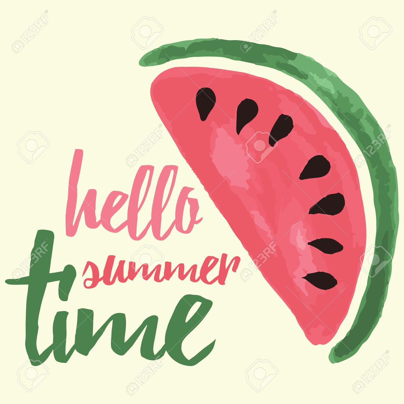 picture relating to Watermelon Printable identified as Vector print with watermelon and lettering. Hi summer months year