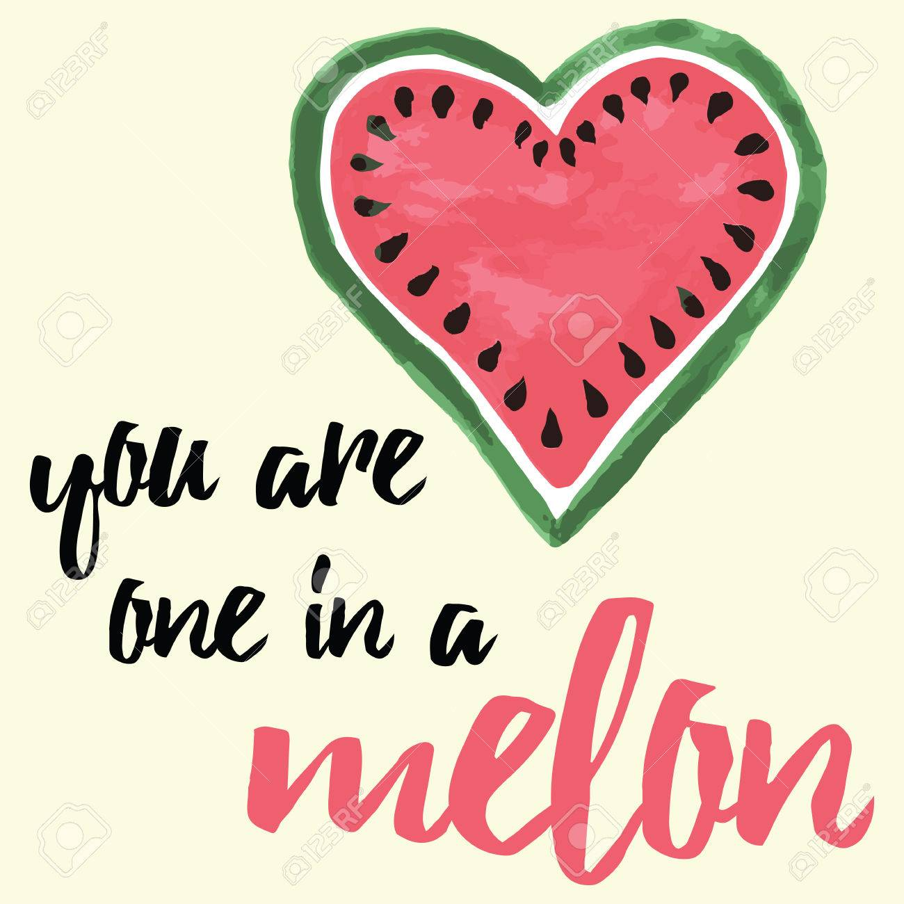 Typography Banner With Hand Drawn Water Melon. You Are One In A Melon. Quote