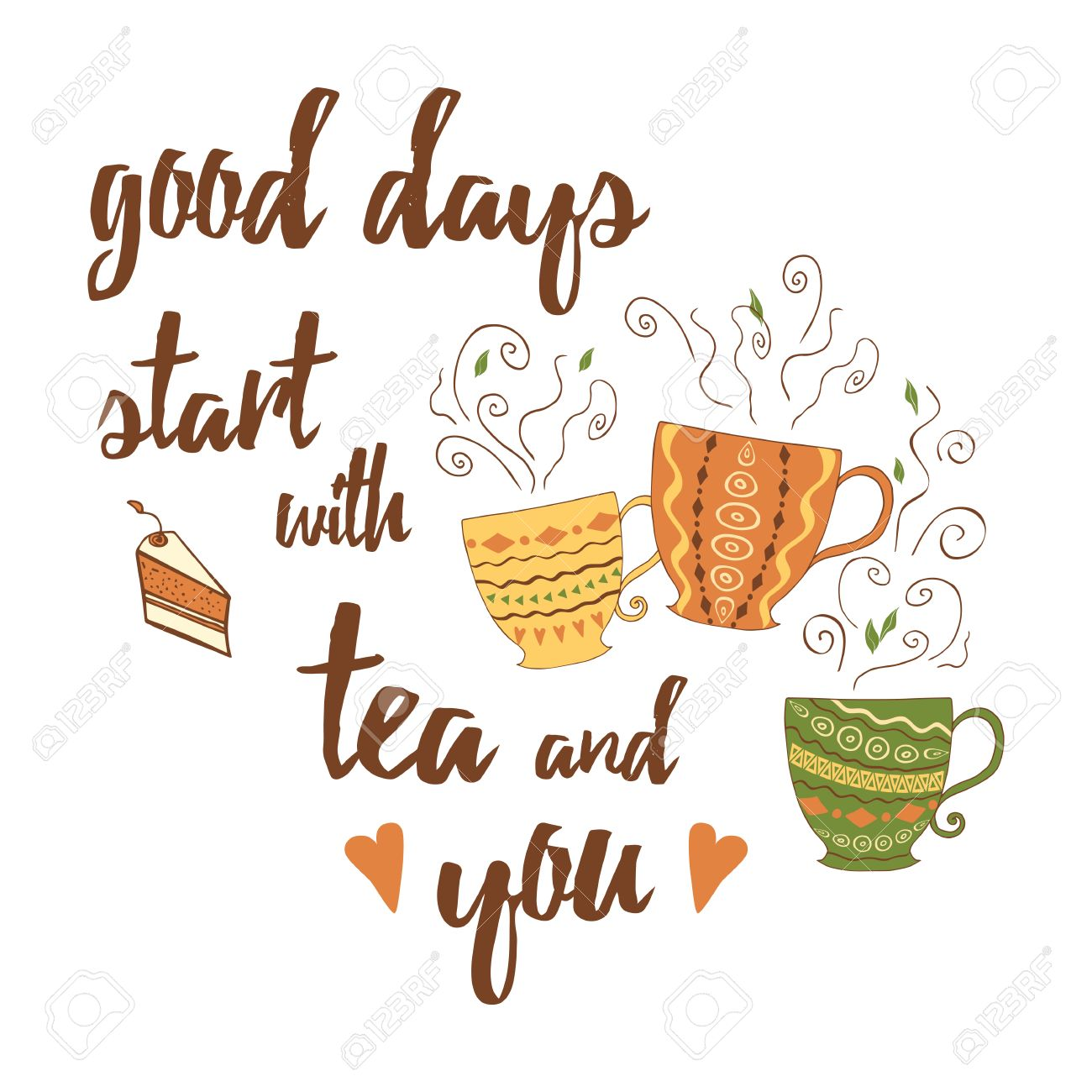 Vector positive emotional quote and sayings good days start vector vector positive emotional quote and sayings good days start with tea and you decorative card with unique typography design element for greeting m4hsunfo