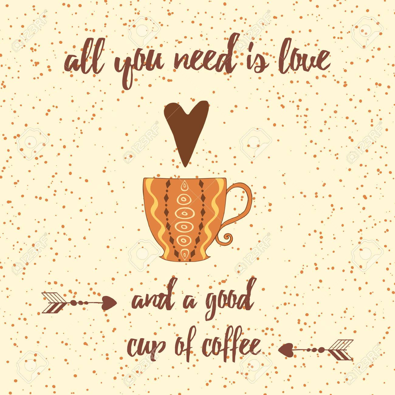 Cups Of Coffee Heart Positive Sayings And Quote Allyou Nee Royalty Free Cliparts Vectors And Stock Illustration Image 66656327