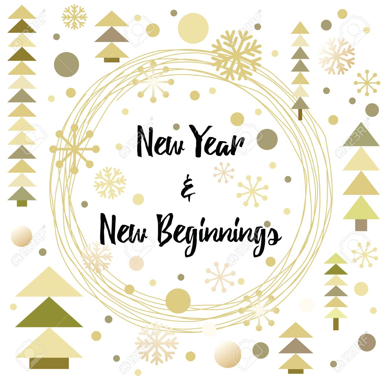 Happy New Year Greeting Card Design Made In Modern Gold Glittering ...