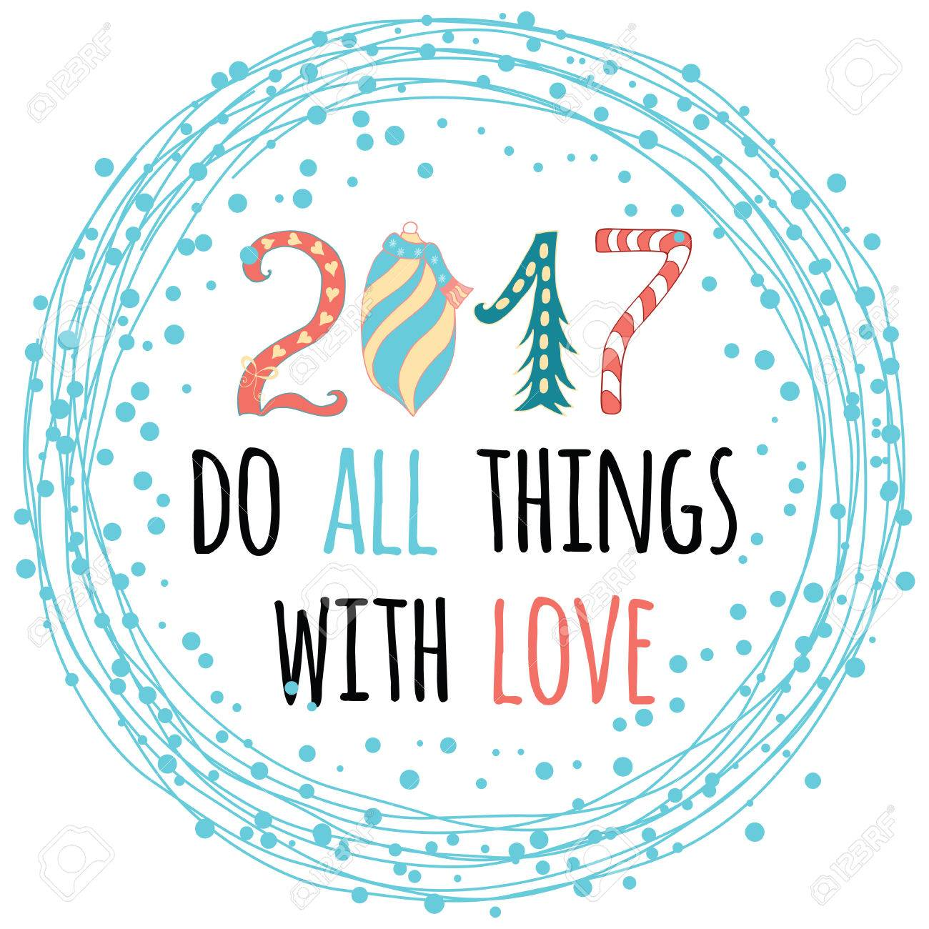 2017 Happy New Year Greeting Card Design With Innspiring Positive ...