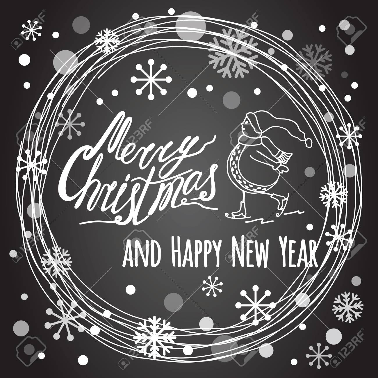 Christmas Board Design.Merry Christmas And Happy New Year Lettering Design Banner Text