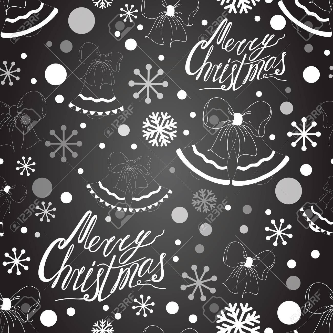 Christmas Board Design.Merry Christmas Seamless Pattern On The Black Chalk Board With